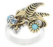 Sterling/Brass Hummingbird Turquoise Ring by Fritz Casuse - J55032
