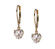 Diamonique 2.00 ct tw Heart Lever Back Earrings, 14K Gold - J105233