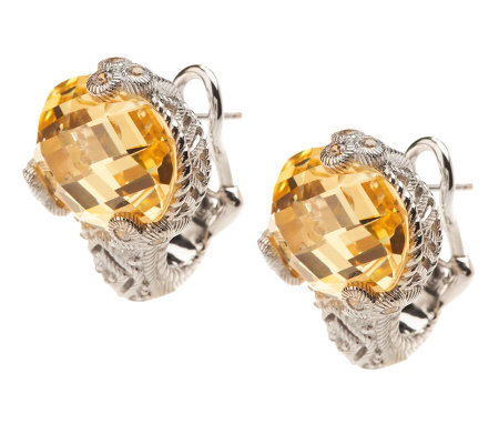 Judith Ripka Sterling 19.0ct Yellow Diamonique Oval Earrings