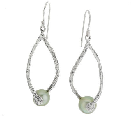 sterling silver cultured pearl twist design earrings by or