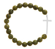 As Is Sterling Silver Connemara Marble Stretch Cross Bracelet - J284933