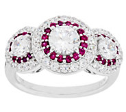 Diamonique & Simulated Gemstone Halo Ring, Platinum Clad - J289133