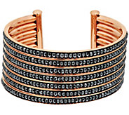 Bronze 7-Row Hematite Bead Inlay Cuff Bracelet by Bronzo Italia - J296333