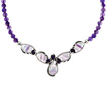 Carolyn Pollack Fluorite & Amethyst Bead Sterling Necklace - J296633