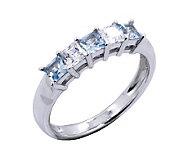 Diamonique & Vivid Blue Princess Cut Ring, Platinum Clad - J302433