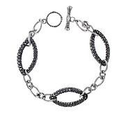 Suspicion Sterling Marcasite 7-1/2 Twisted Oval Link Bracele - J304333
