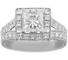 Epiphany Diamonique 2.85 ct tw Princess-Cut Ring