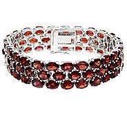 Mozambique Garnet Triple Row 8 Sterl. Tennis Bracelet 65.00 ct tw - J319133