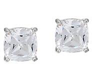 Diamonique 4.00 cttw Round or Cushion Stud Earrings, Platinum Clad - J321133