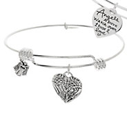 Extraordinary Life_Sterling Expandable Heart Charm Bangle Bracelet - J323233
