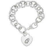 Judith Ripka Sterling Verona Heart Initial Rolo Link Bracelet 37.8g - J324433