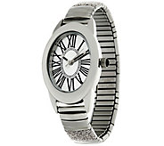 As Is Stainless Steel Stretch Glitter Watch - J333133