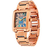 As Is Bronze Black Mother of Pearl Rectangle Watch by Bronzo Italia - J333933