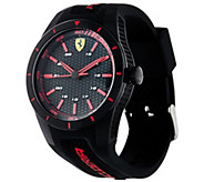 Ferrari Mens Black Textured Silicone Strap RedRev Watch - J334333