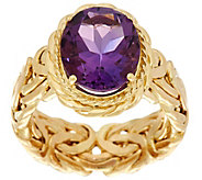 14K Gold Polished Byzantine and Gemstone Ring - J334633