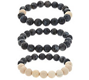 Ellie Madison Set of Three Labradorite & Calcite Stretch Bracelets - J334833