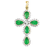 0.90cttw Emerald & Diamond Accent Cross Pendant18 Chain, 14K - J336333