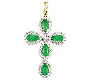0.90cttw Emerald & Diamond Accent Cross Pendant18 Chain, 14K - J336333