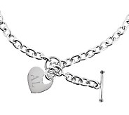 Stainless Steel 18 Engravable Heart Charm Toggle Necklace - J336533