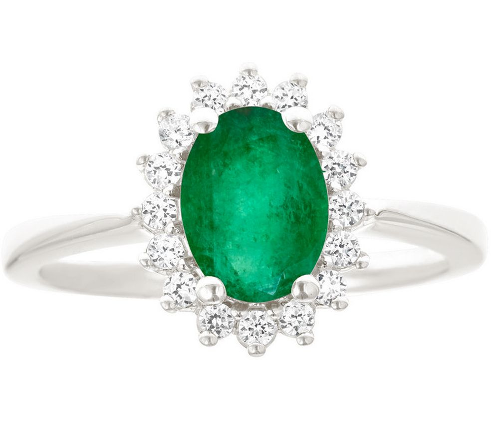 premier 9 10cttw oval emerald ring 14k qvc
