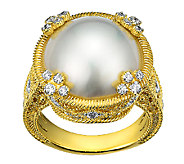 Judith Ripka Sterling & 14K Clad Round Mabe Pearl Ring - J340033
