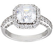 Diamonique 2.50cttw Asscher Halo Ring, Platinum Clad - J340733