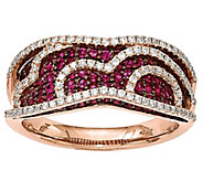 0.85 cttw Ruby & 3/10 cttw Diamond Rin g 14K Rose Gold - J342233