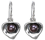 Hagit Sterling Cultured Pearl Contemporary Heart Earrings - J342733