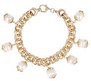 Arte dOro 7-1/4 Cultured Pearl Charm Bracelet, 18K - J342933