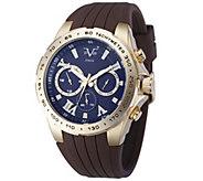 V19.69 Italia Mens Goldtone Watch w/ Blue Dial, Brown Strap - J343933