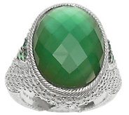 Judith Ripka Sterling Diamonique & Green Doublet Ring - J344033