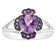 Sterling 1.75 cttw Amethyst Floral Ring - J344233