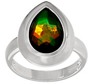 Pear Shaped Ammolite Triplet Sterling Ring - J346233