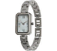 Diamonique Rectangle Face Watch - J347333
