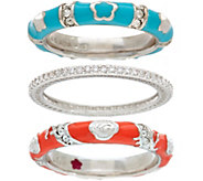 Lauren G Adams Silvertone Colored Enamel Stack Ring - J347433