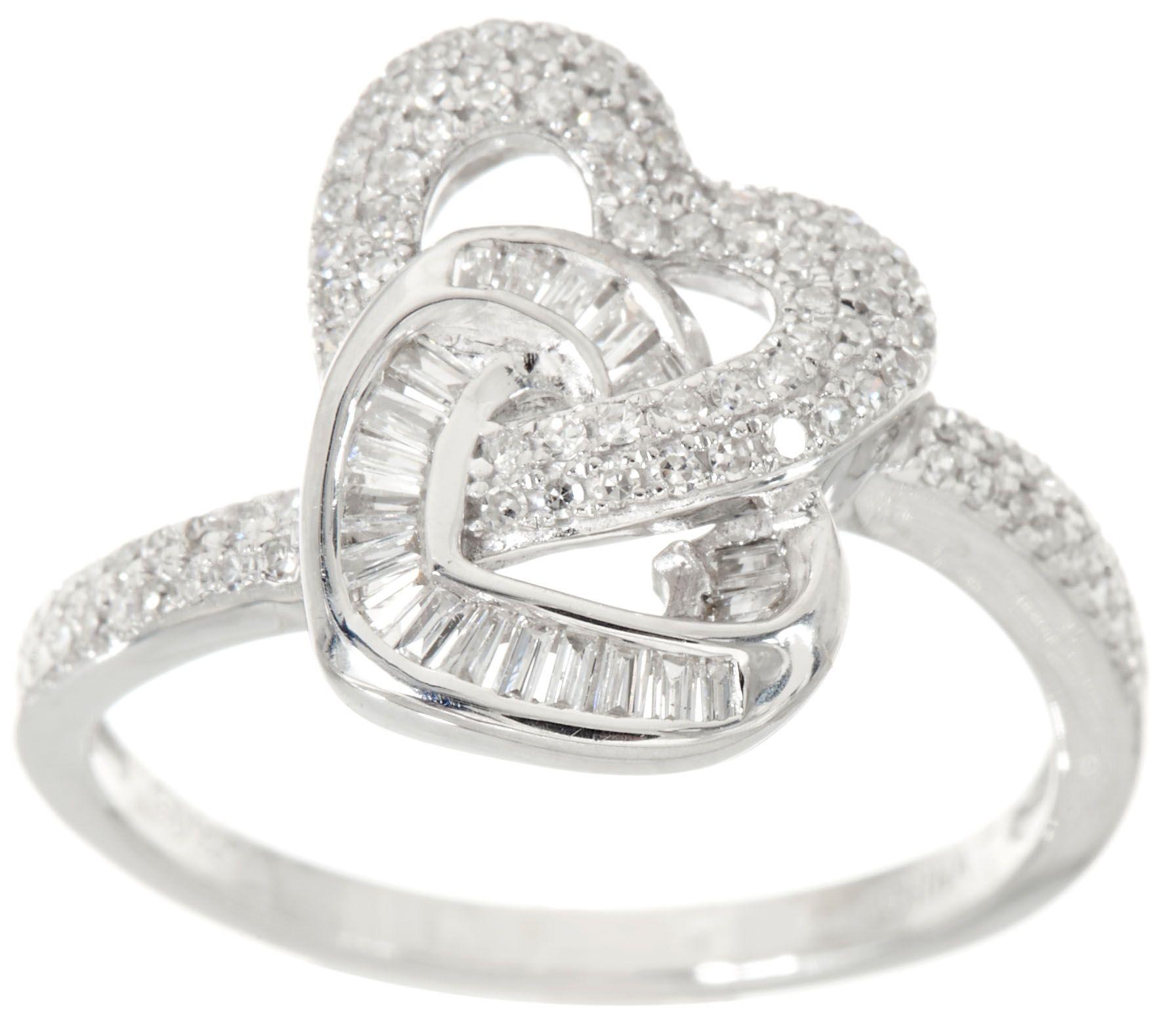 pave diamond interlocking heart ring sterling by affinity j347533 - Qvc Wedding Rings