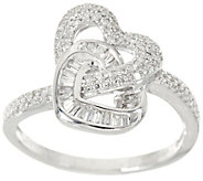 Pave Diamond Interlocking Heart Ring Sterling by Affinity - J347533