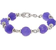 Judith Ripka Sterling Fluted Jade Bead 7-1/4 Bracelet - J348233
