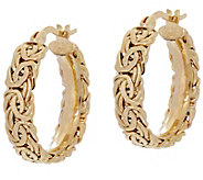 14K Gold 3/4 Byzantine Round Hoop Earrings - J348733
