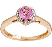 Petite Round Sapphire and Diamond Ring, 14K - J354033