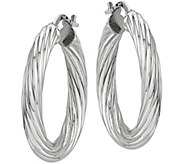 Sterling Polished Twisted Hoop Earrings by Silver Style - J375833