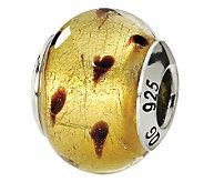 Prerogatives Sterling Gold/Brown Italian MuranoGlass Bead - J111734