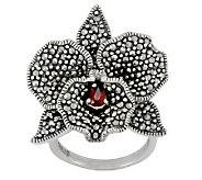Suspicion Sterling Marcasite & Garnet Orchid Flower Ring - J112434