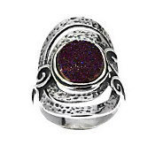 Or Paz Sterling Drusy Quartz Elongated Textured Ring - J262134