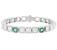 Judith Ripka 8-1/4 3.30ct Emerald and Diamonique Tennis Bracelet - J288934