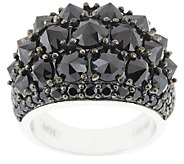 5.50 ct tw Black Spinel Pyramid Faceted Sterling Ring - J290334
