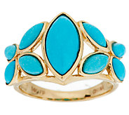 Sleeping Beauty Turquoise Floral Design Ring, 14K Gold - J291234