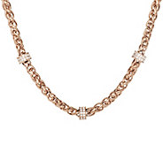 Stainless Steel 18 Wheat Chain Necklace with Crystal Stations - J293734