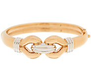 14K Gold Large Polished Two-Tone Interlocking Bangle - J295634