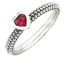 Simply Stacks Sterling Simulated Ruby Heart Beaded Band Ring